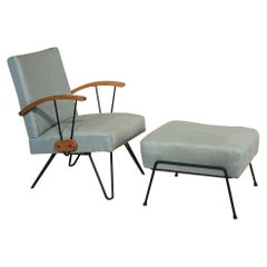 Midcentury Rocker with Iron Hairpin Legs and Foot Stool