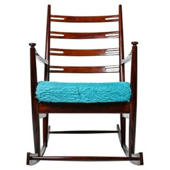 Midcentury Rocking Chair, Bright Blue Colour Fabric
