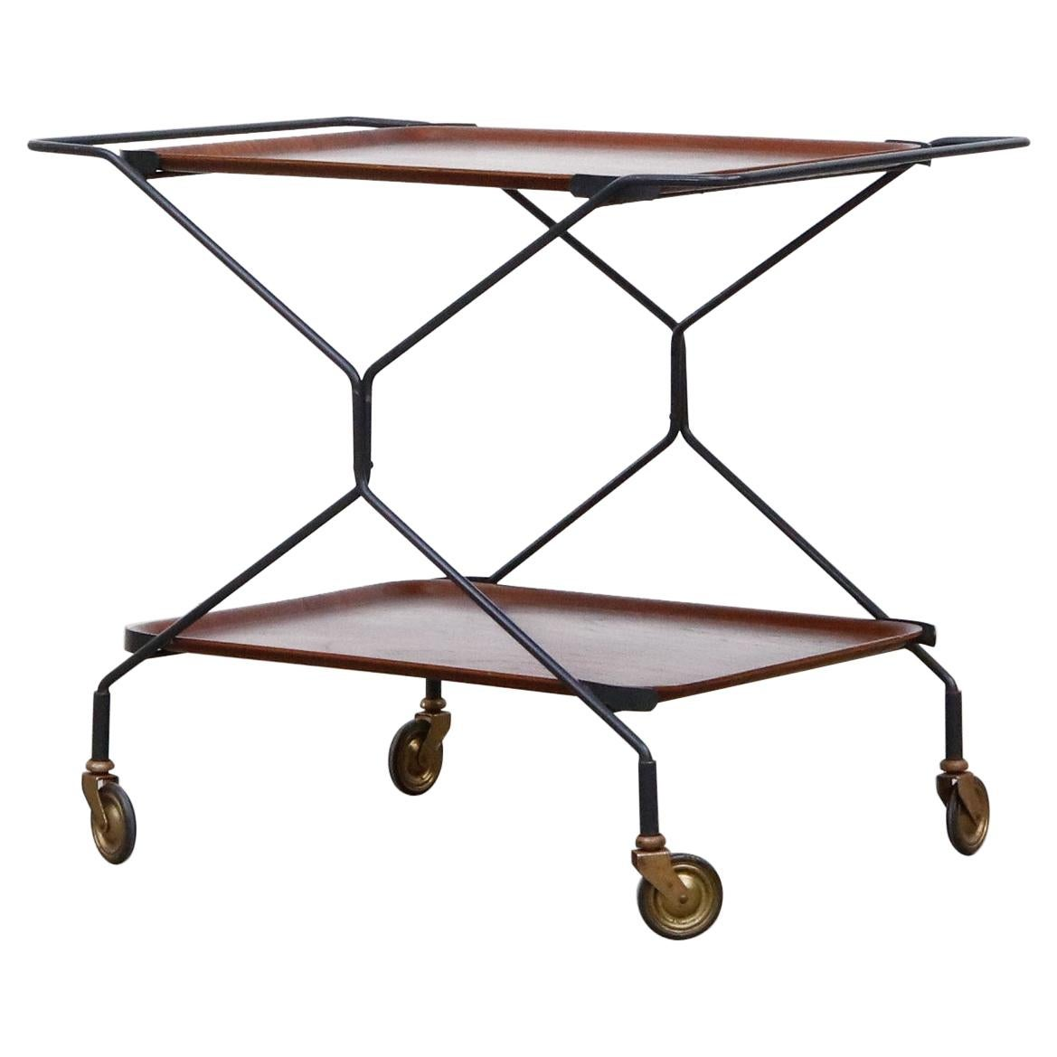 Mid-Century Rolling Bar Cart with Removable Trays
