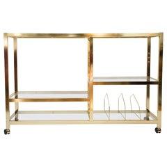 Midcentury Rolling Brass Bar Cart
