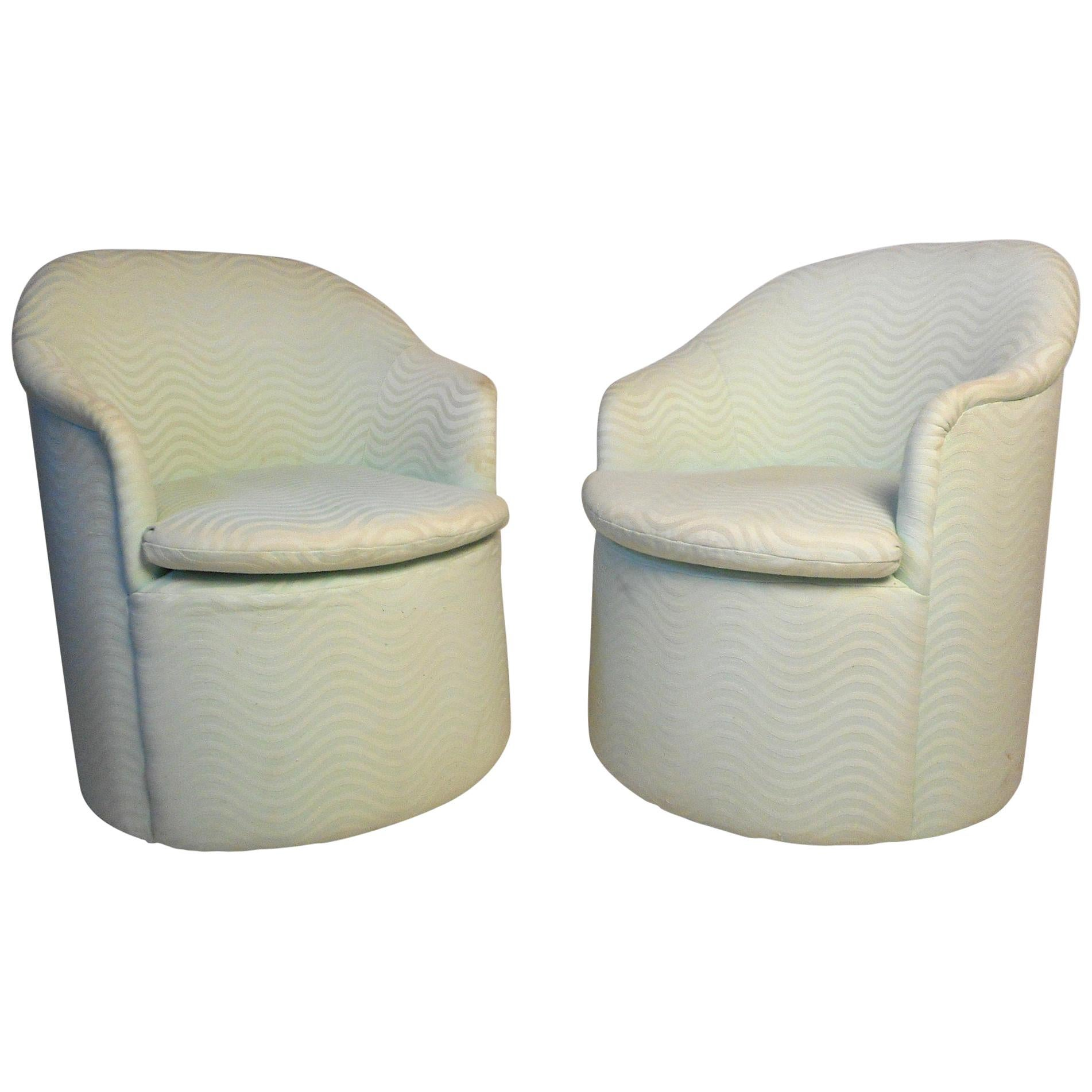 Mid-Century Rolling Club Chairs by Directional - a Pair