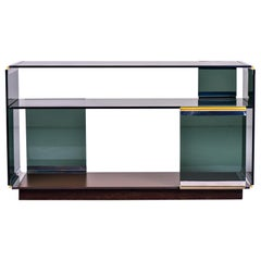 Midcentury Romeo Rega Glass Polished Nickel and Brass Console