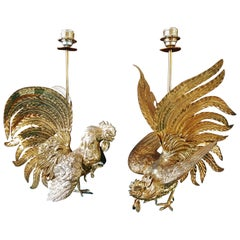 Midcentury Rooster Sculpture Brass Lamps, Italy, 1960s