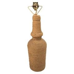 Mid Century Rope Bottle Lamp Audoux Minet, circa 1960