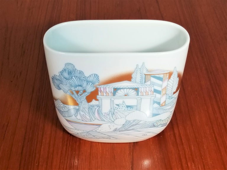 Mid-Century 1970s Signed Rosenthal Porcelain Vase.  Asian inspired design.  Excellent Condition