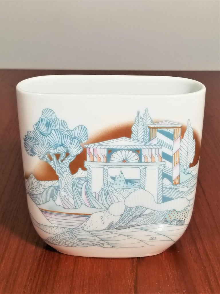 Rosenthal, Vase Germany Porcelain Mid Century 1970s Asian Inspired  In Excellent Condition For Sale In New York, NY