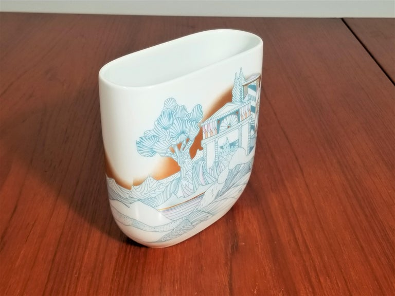Late 20th Century  Rosenthal, Vase Germany Porcelain Mid Century 1970s Asian Inspired  For Sale