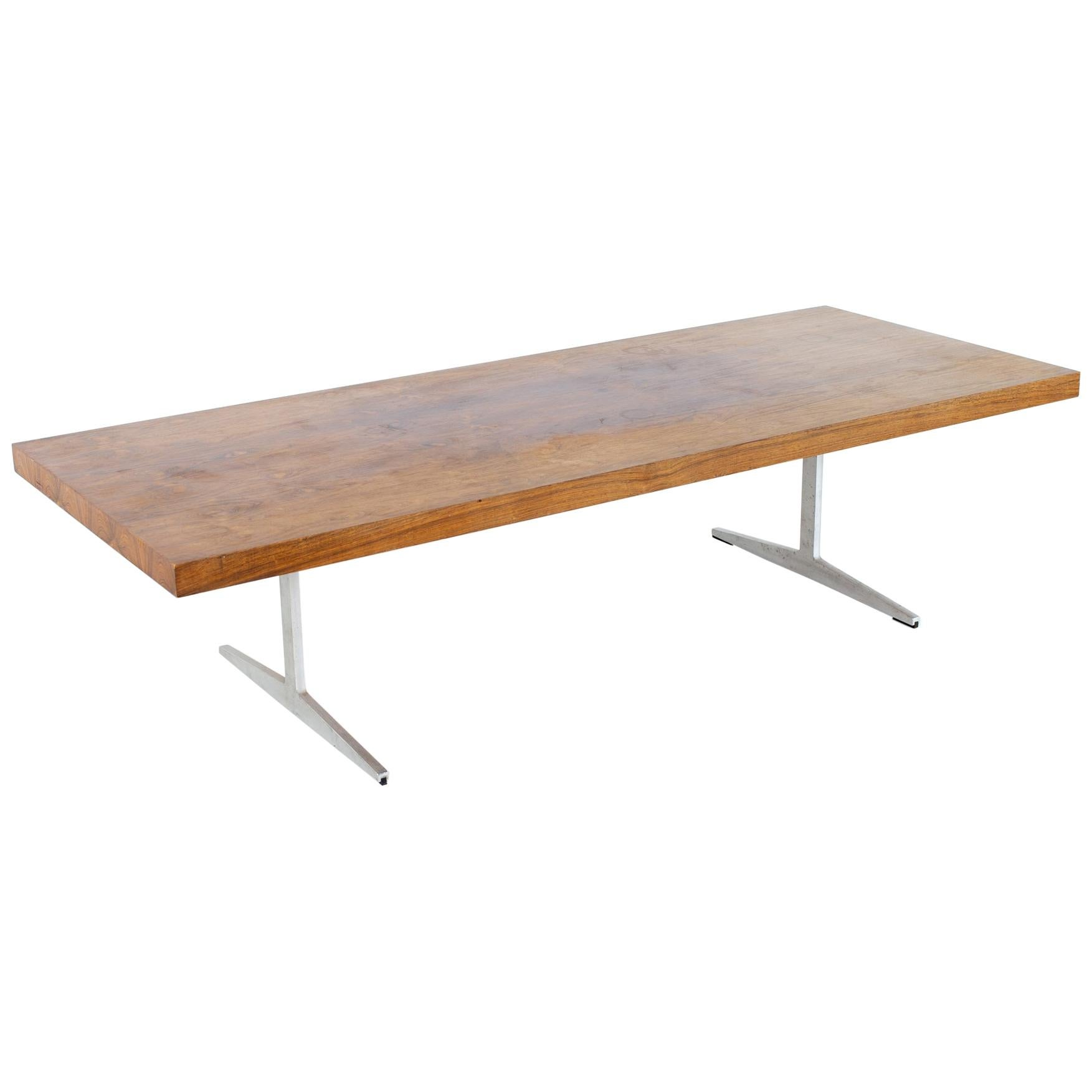 Mid Century Rosewood and Aluminum Sleigh Base Coffee Table