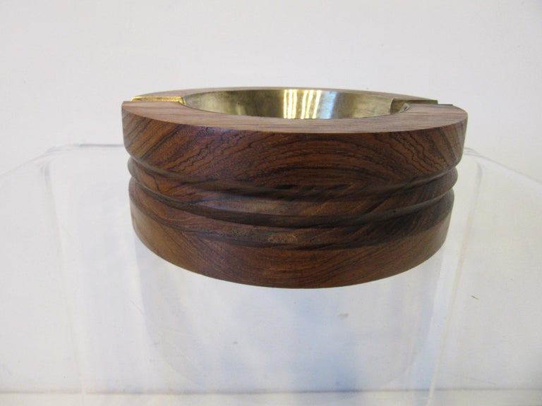 Midcentury Rosewood and Brass Large Ashtray by CE For Sale 5