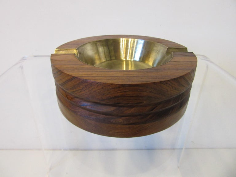 Mid-Century Modern Midcentury Rosewood and Brass Large Ashtray by CE For Sale