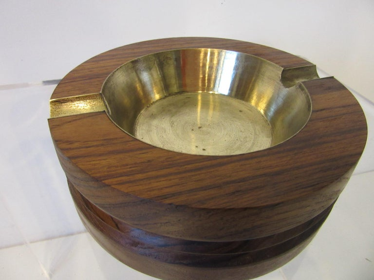 Unknown Midcentury Rosewood and Brass Large Ashtray by CE For Sale