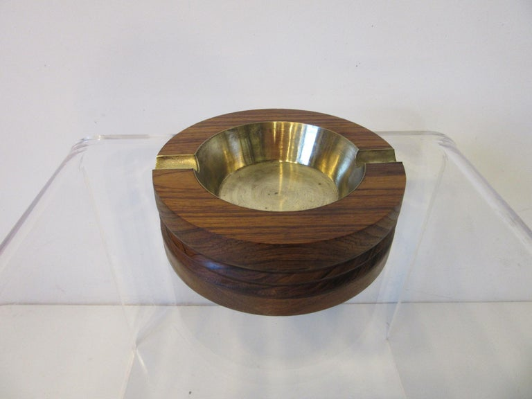 Midcentury Rosewood and Brass Large Ashtray by CE In Good Condition For Sale In Cincinnati, OH