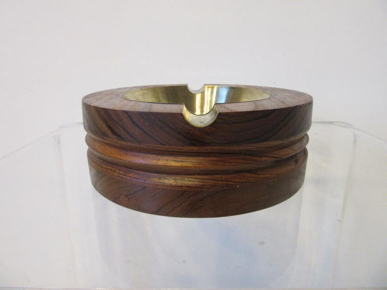 20th Century Midcentury Rosewood and Brass Large Ashtray by CE For Sale