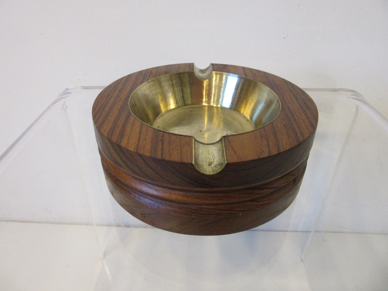 Midcentury Rosewood and Brass Large Ashtray by CE For Sale 1
