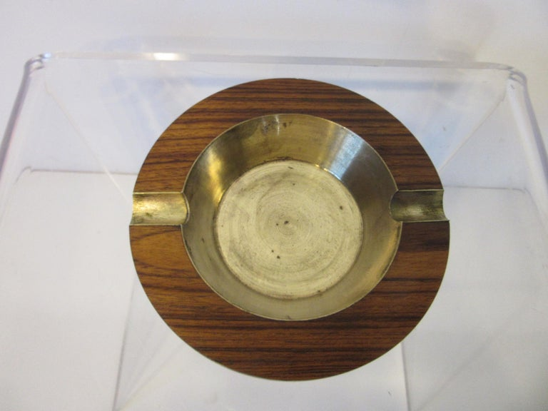 Midcentury Rosewood and Brass Large Ashtray by CE For Sale 2