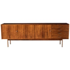 Mid Century Rosewood and Chrome Credenza