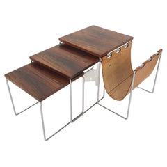 Mid-Century Rosewood and Leather Mimiset by Brabantia, the Netherlands, 1950's
