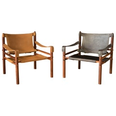 Mid Century Rosewood and Leather Sirocco Safari Lounge Chair by Arne Norell