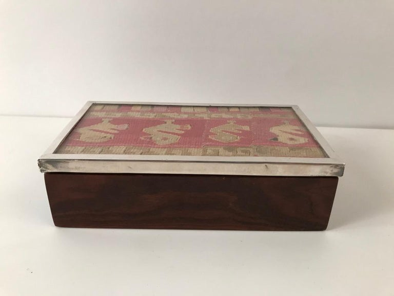 Carved Midcentury Rosewood and Silver Box with Ancient Peruvian Textile For Sale