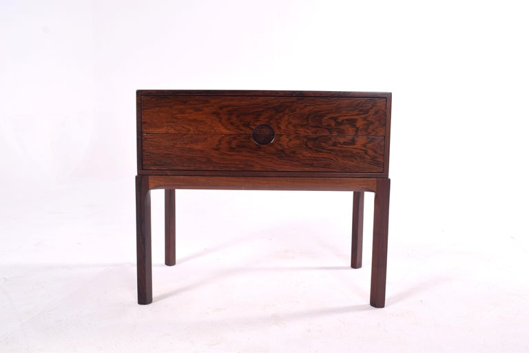 Kai Kristiansen bedside table, with two drawers. Model 384, circa 1950 in rosewood, produced by Aksel Kjersgaard, Odder, Denmark.
