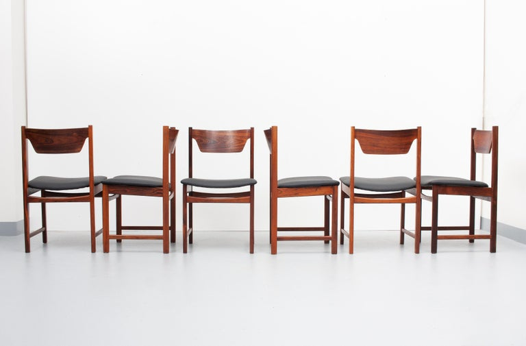 Mid-Century Modern Mid Century wooden Dining Chairs Black Leather For Sale