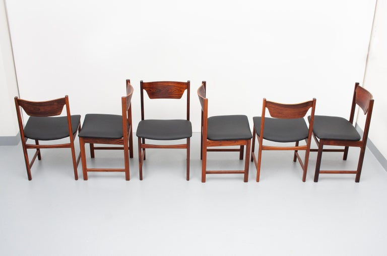 Danish Mid Century wooden Dining Chairs Black Leather For Sale