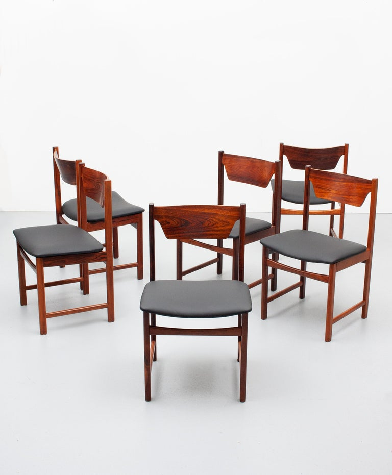 Mid-20th Century Mid Century wooden Dining Chairs Black Leather For Sale