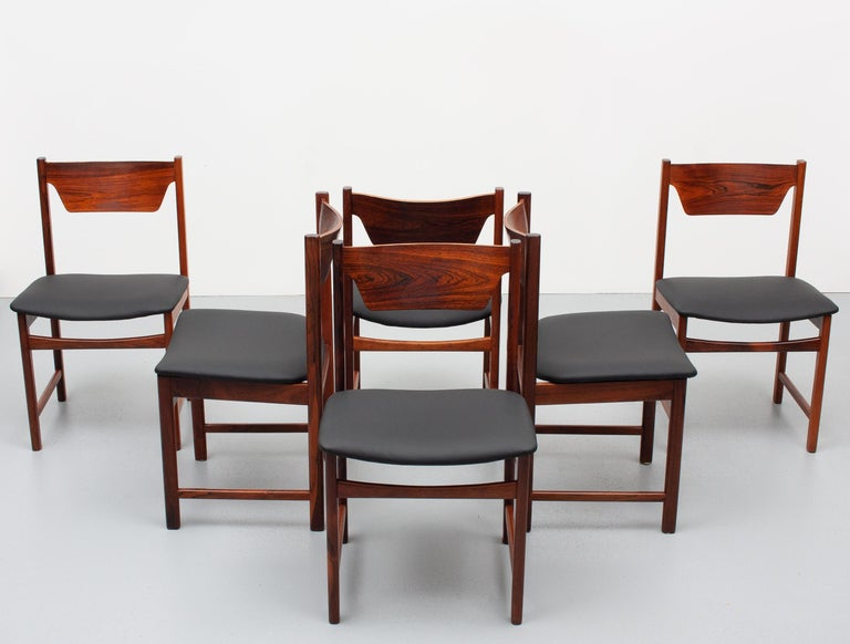 Mid Century wooden Dining Chairs Black Leather For Sale 1