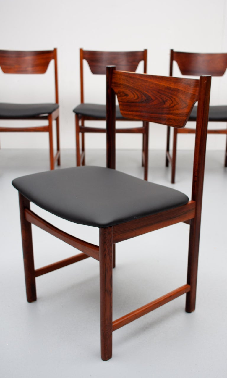 Mid Century wooden Dining Chairs Black Leather For Sale 2