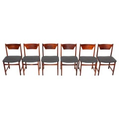 Mid Century wooden Dining Chairs Black Leather