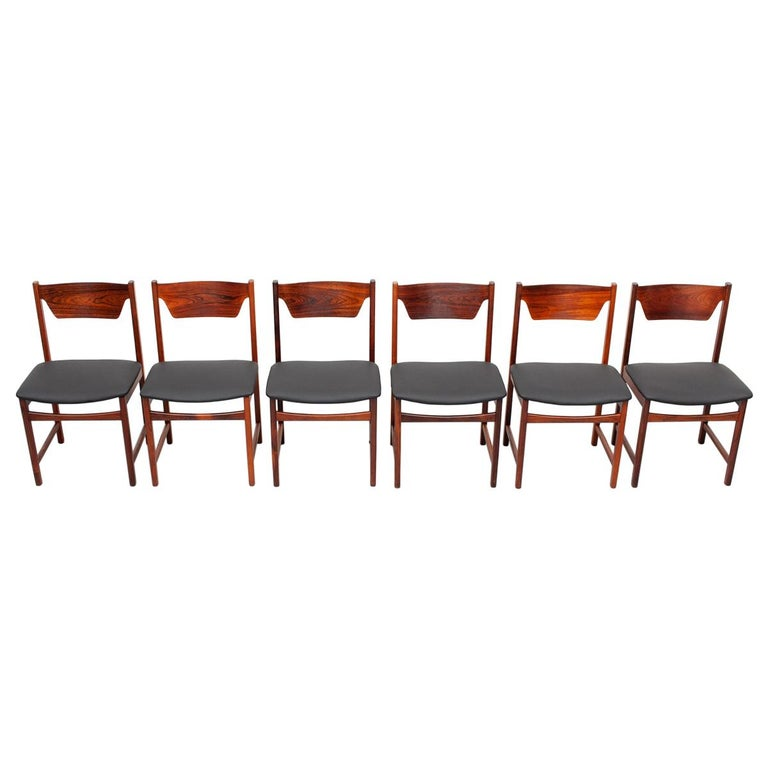 Mid Century wooden Dining Chairs Black Leather For Sale