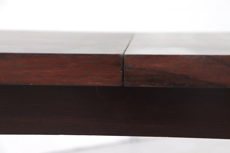 Midcentury Rosewood Dining Table with Hidden Leaf For Sale 5