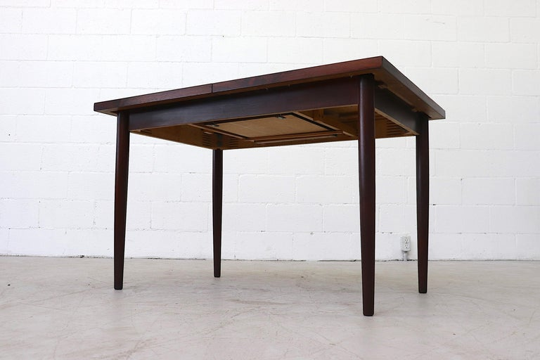 Midcentury Rosewood Dining Table with Hidden Leaf For Sale 3