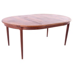 Mid Century Rosewood Dining Table with Two Leaves