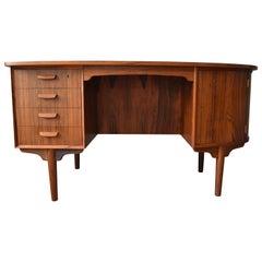 Midcentury Rosewood Kidney Shaped Desk, H.P. Hansen, 1960s