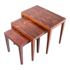 Midcentury Rosewood Nesting Tables by Severin Hansen for Haslev