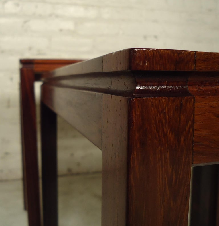 Midcentury Rosewood Nesting Tables In Good Condition For Sale In Brooklyn, NY