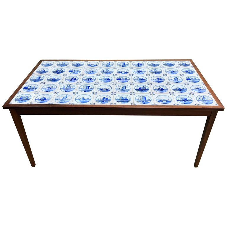 Danish Mid Century Modern Occasional Side Coffee Table Rosewood: Mid-Century Rosewood Occasional Table With Ceramic Tile