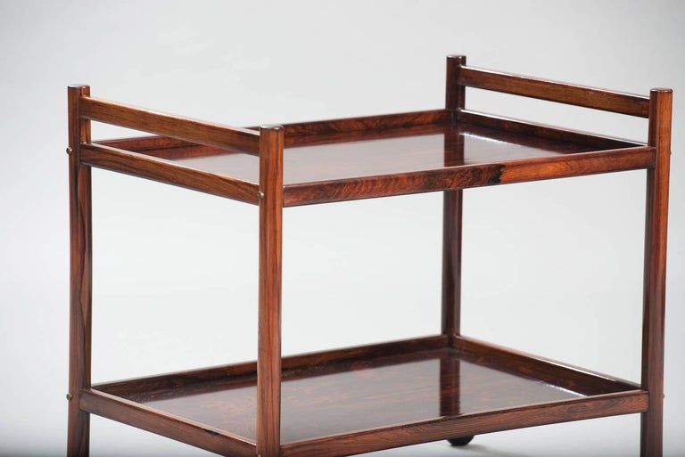 Rosewood two-tier serving trolley.