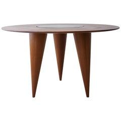 Midcentury Round 3 Legged Danish Solid Teak Dining Table
