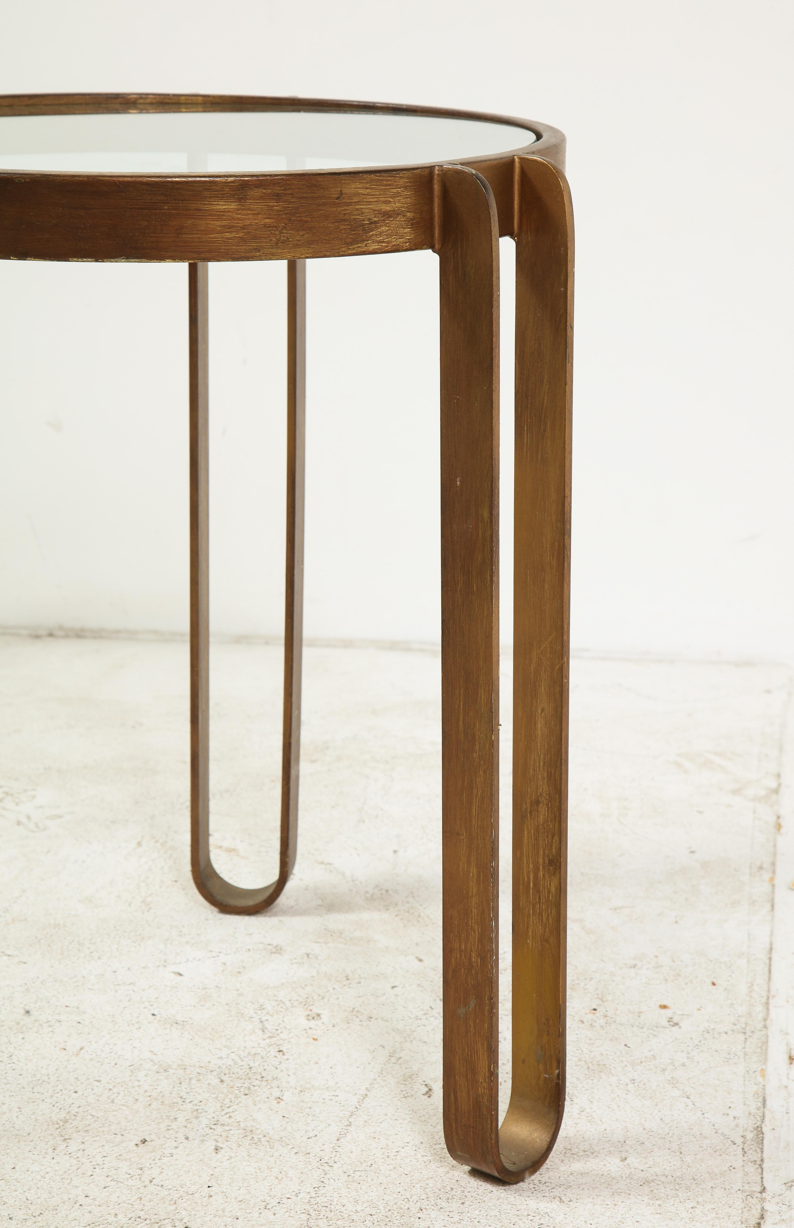 Ordinaire Midcentury Round Brass And Glass Side Table With Hairpin Legs