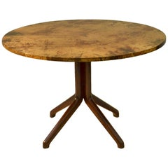 Midcentury Round Dining Table by Aldo Tura Parchment Top and Ebonized Wood Base