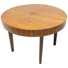 Midcentury Round Folding Dining Table in Walnut, Czechoslovakia, 1950s