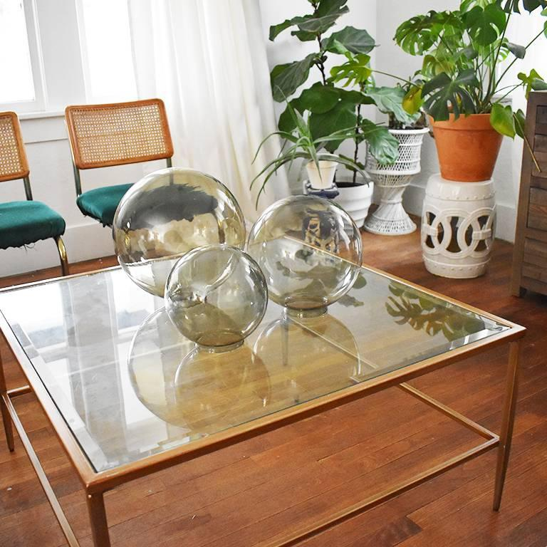 Mid-Century Modern Midcentury Round Glass Coffee Table Globes Orbs in Green Brown For Sale