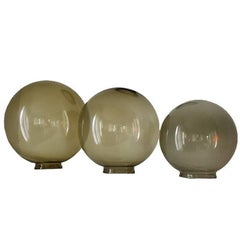 Midcentury Round Glass Coffee Table Globes Orbs in Green Brown