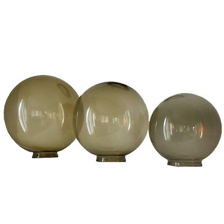 Midcentury Round Glass Coffee Table Globes Orbs in Green Brown For Sale