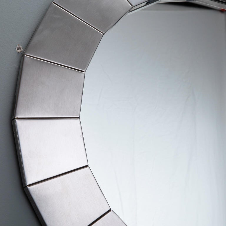 Mid-Century Modern Midcentury Round Mirror with Brushed Aluminum Frame For Sale