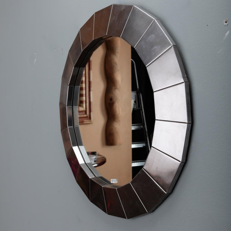 European Midcentury Round Mirror with Brushed Aluminum Frame For Sale