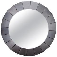 Midcentury Round Mirror with Brushed Aluminum Frame