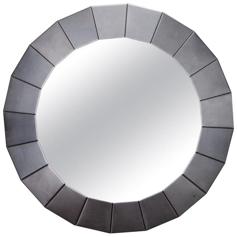Midcentury Round Mirror with Brushed Aluminum Frame For Sale
